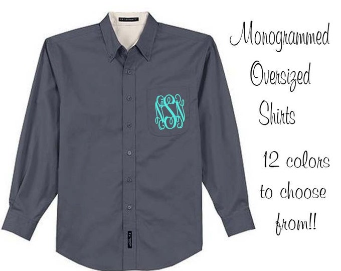 Monogrammed Oversized Bridal Party Shirt Set of 4 Personalized Oversized Shirt, Bridesmaids Gift, Bachelorette Party