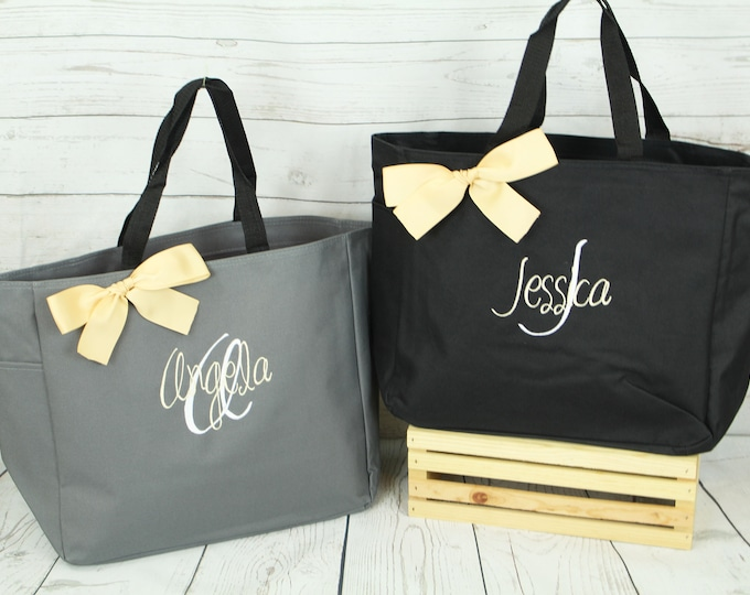 10 Personalized Bridesmaid Tote Bags Monogrammed Tote, Bridesmaids Tote, Personalized Tote, Monogrammed Bag, Bridesmaid Gift Bags (ESS1)