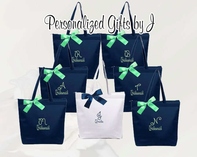 4 Personalized Zippered Tote Bags, Bridesmaid Gifts Set of 4, Embroidered Tote, Monogrammed Tote, Bridal Party Gift