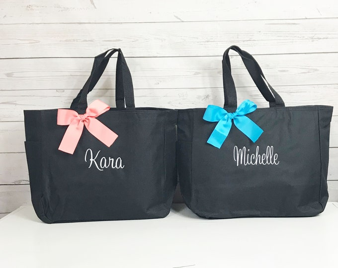 Set of 3, Personalized, Bridesmaid Gift, Tote Bags, Monogrammed Tote (ESS1)