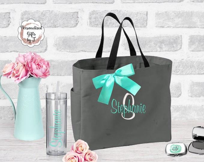 Bridesmaid Tote and Tumbler, Set of 10, Bridesmaid Gifts, Bridesmaid Bags, Skinny Tumblers, Bridal Party Gift, Wedding Bag