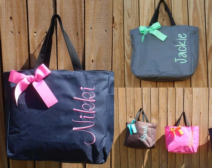 14 Personalized, Bridesmaid Tote Bags, Personalized Tote, Bridesmaids Gift, Monogrammed Tote, Bridesmaids Gifts, wedding Tote Bag