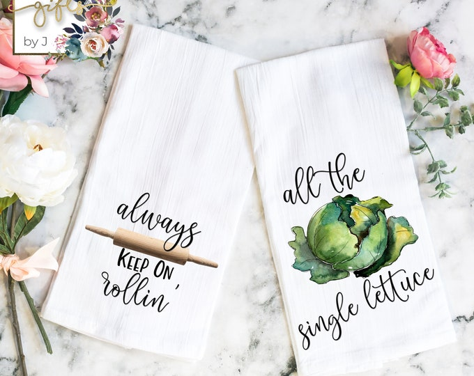 Funny Kitchen Decor, Tea Towel, Set of 2, Housewarming Gift