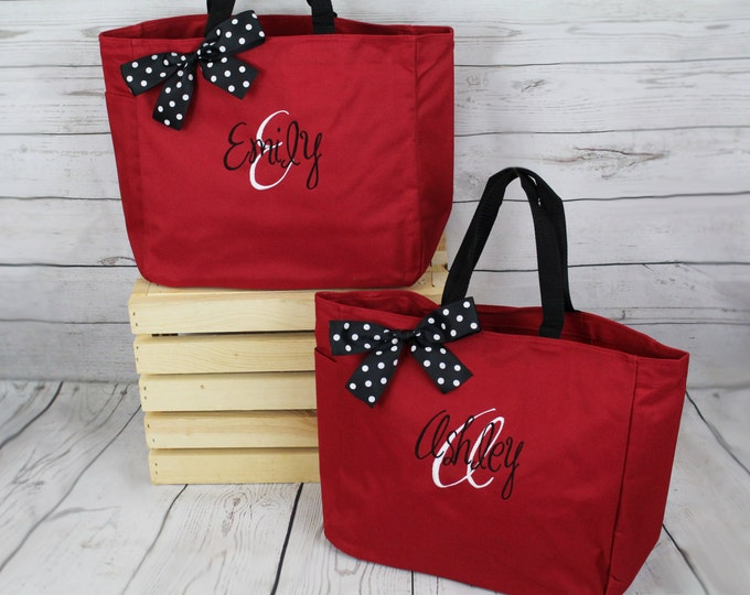 Set of Personalized Bridesmaid Tote Bags, Embroidered Tote, Monogrammed Tote, Bridal Party Gift (ESS1)