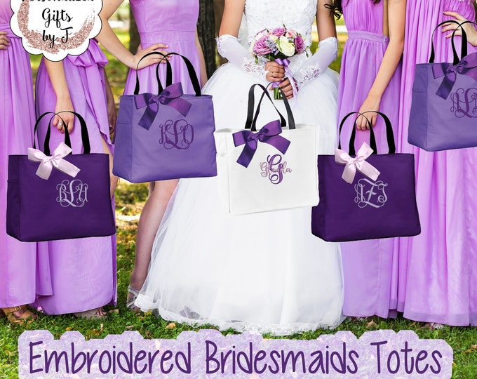 6 Personalized Bridesmaid Gift Tote Bags Personalized Tote, Bridesmaids Gift, Monogrammed Tote (ESS1)