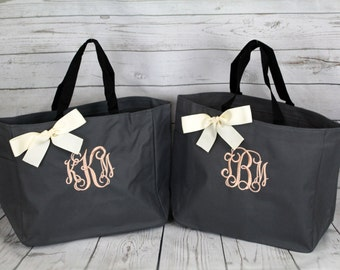 Set of 6 Personalized Bridesmaid Gift Tote Bags, Wedding Day Totes, Bridal Party Gifts, Bridesmaids Tote, Monogrammed Tote Bags (ESS1)