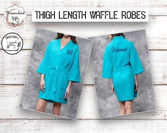 Turquoise Personalized Bridesmaids Robes, Monogrammed Robe, Waffle Robe, Personalised Bridesmaid Gifts