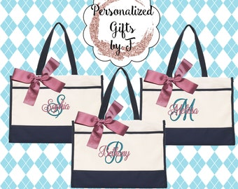 Set of 7 Monogrammed Tote Bag - Bridesmaid Gift- Personalized Bridesmaid Totes - Wedding Party Gifts - (CT1)