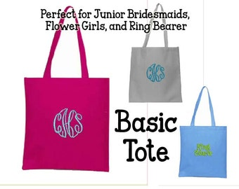Monogrammed Tote, Junior Bridesmaid, Flower Girl Gift, Ring Bearer, Party Favor Bag, Gift Bag, Personalized Bag, Personalised Tote