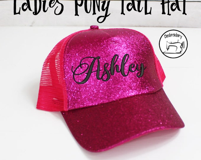 Ponytail Hat Custom Glitter Hot Pink, Monogrammed,High Pony Tail Hat, High Pony Cap, Baseball Hat Messy Bun Hat  Women Gift under 10