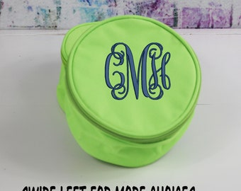 Monogrammed Travel Jewelry Case, Personalized Jewelry Pouch, Lime Green