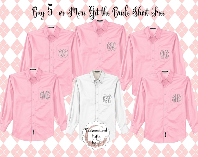 Monogrammed Shirts, Oversized, Bridal Party Shirt, Set of 5 or more, Personalized Oxford Shirt, Bridesmaids Gift, Bachelorette Party Shirt