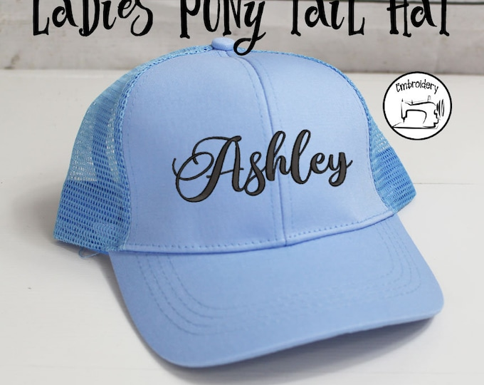 Pony Tail Hat, Personalized Light Blue Messy Bun Hat,*SALE* Monogrammed, Embroidered ,High Ponytail, Trucker Hat, High Pony Women Ball Cap
