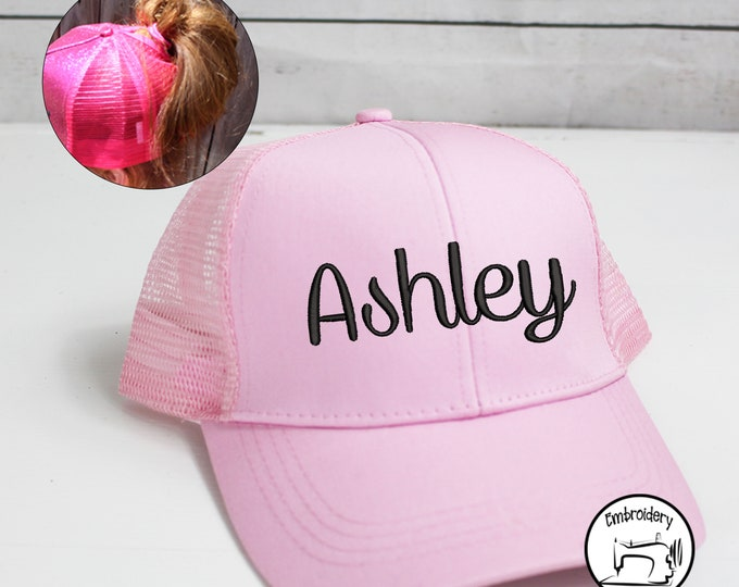 Custom Pink Womens High Pony Cap, Monogrammed, Embroidered ,High Ponytail, Trucker Hat, Baseball Hat Messy Bun Hat Ballcap Women Ball Cap