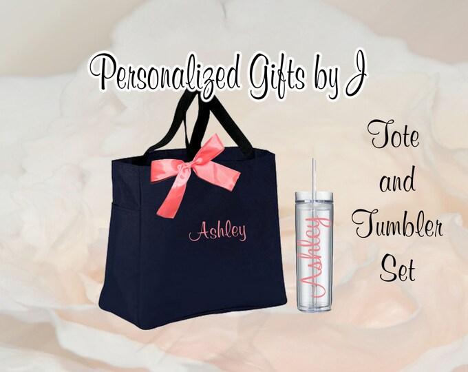 5 Totes and Tumblers, Bridesmaid Gifts, Bridesmaid Bags, Skinny Tumblers, Bridesmaids Totes and Tumbler Set, Bridal Party Gift, Wedding Bag