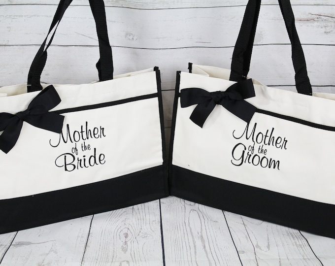 Mother of The Bride Gift, Mother of the Groom Tote Bag, (set of 2) Wedding Party Gift Ideas. Mother Gift