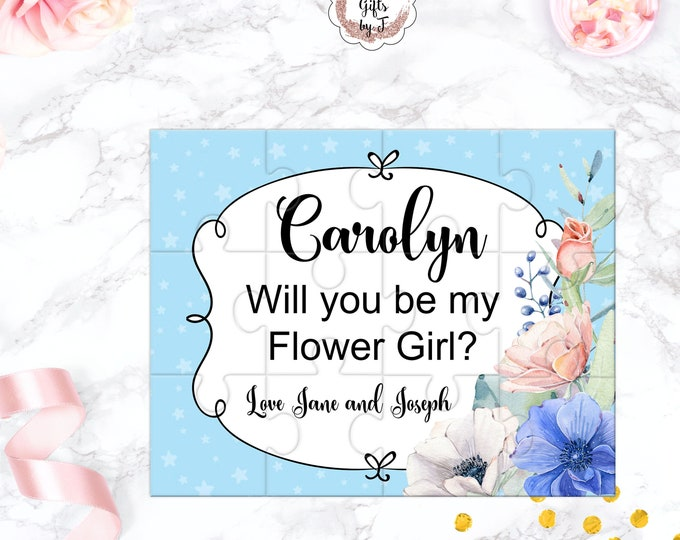 Will You Be My Flower Girl Puzzle Flower Girl Proposal Gift Blue and Blush Keepsake Memento Personalized Flower Girl Gift design 109