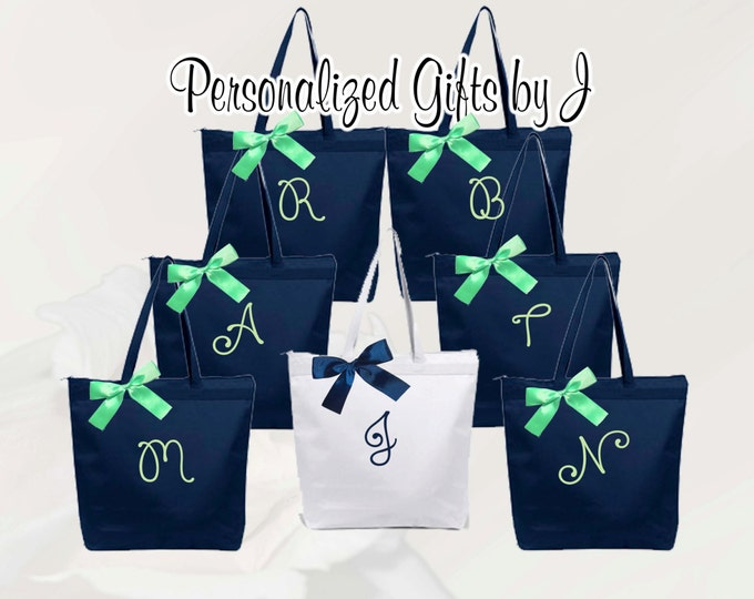 Bridesmaid Gift, 5 Personalized Zippered Tote, Bridesmaid Gift Set, Bridesmaid Gifts- Personalized Tote Bag, Wedding Party Gift