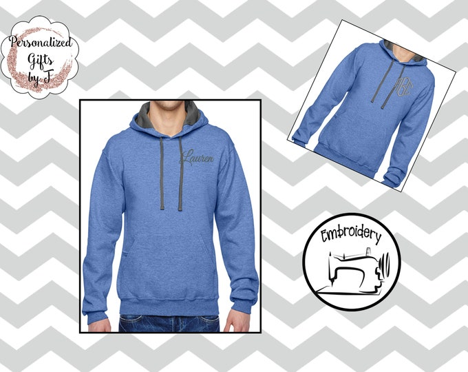 Monogram Sweatshirt, Monogrammed Hoody, Personalized Hoodie, Carolina Blue