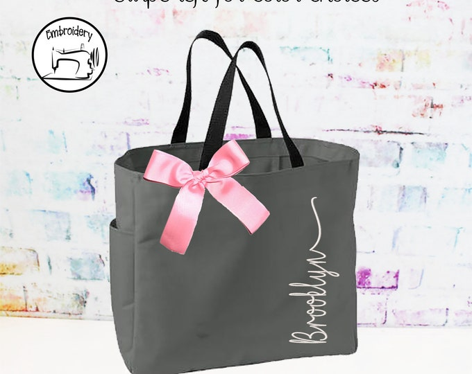 Personalized Bridesmaid Gift, Tote Bag, Monogrammed Tote, Bridesmaids Tote, Personalized Tote, Wedding Totes, Personalised Embroidery