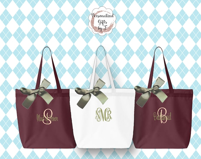 Bridesmaid Gift, Personalized Zippered Tote Bag Set of 2, Wedding Party Tote, Personalized Bridal Party Tote, Wedding Favor Tote