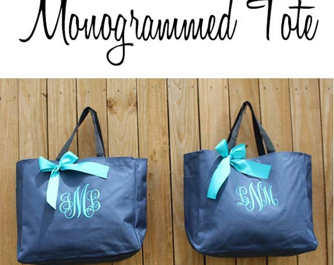 8 Personalized Bridesmaid Gift Tote Bags- Bridesmaid Gift- Personalized Bridemaid Tote - Wedding Party Gift - Name Tote-