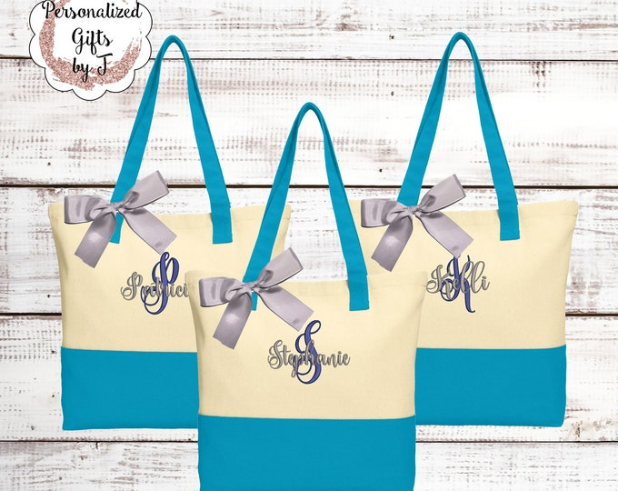 Personalized Canvas Tote Bag, Turquoise Tote, Bridesmaid Gift, Monogrammed, Bridal Party Gifts