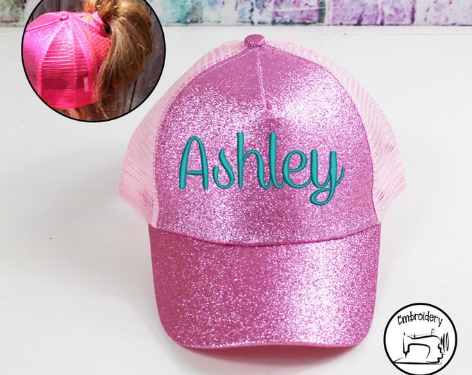 Custom Glitter Pink, Monogrammed, Embroidered ,High Ponytail, Trucker Hat, High Pony Cap, Baseball Hat Messy Bun Hat  Women Gift under 10