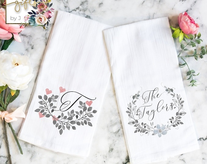 Custom Tea Towel, Personalized Kitchen Towel, SET OF 2, Flour Sack Towel, Hostess Gift