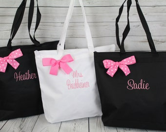 8 Bridesmaid Tote Set, Gift Personalized Zippered Tote Bag Monogrammed Tote, Bridesmaid Tote, Personalized Tote Wedding (OSZ1)