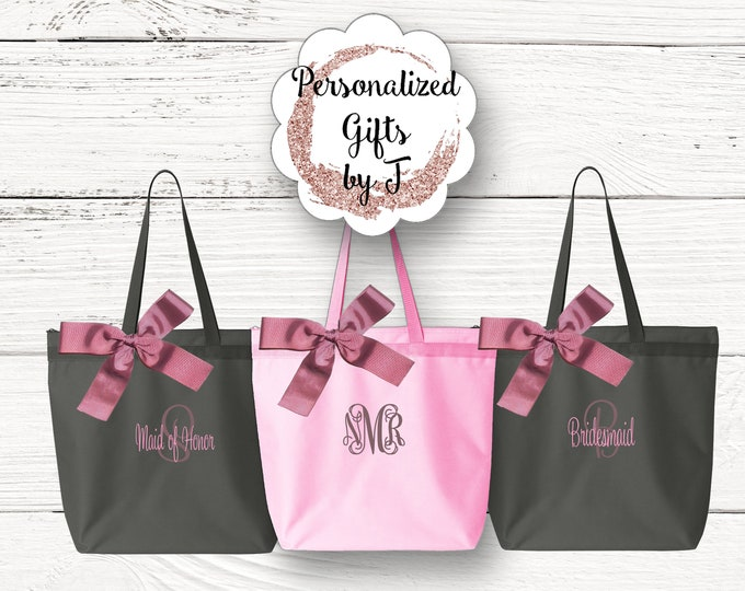 Set of 2 Bridesmaid Gift Zippered tote bag Wedding Party Tote Personalized Bridal Party Tote Wedding Favor Tote Monogrammed Bag personalised