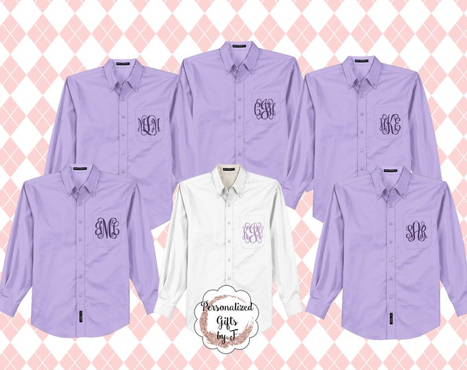 Monogrammed Bridesmaid Shirt, Oversized Bridal Party Shirt, Personalized Shirt, Bridesmaids Gift, Bachelorette Party, Getting Ready Shirts