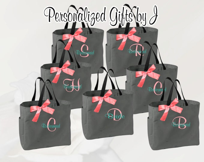 5 Personalized Bridesmaid Gift Tote Bags Monogrammed Tote, Bridesmaid Tote, Personalized Tote Wedding (ESS1)