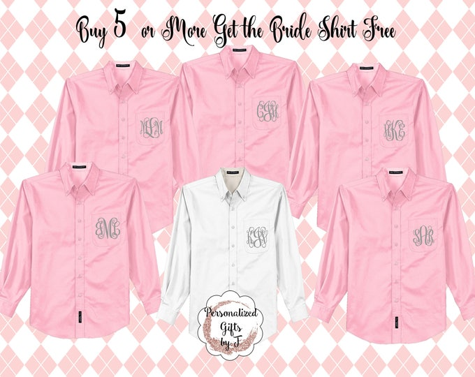 Monogrammed Oxford, Wedding Party Gift, Embroidered Button up shirt, Oversized Shirts for women, Buy 5 or More