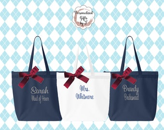 Set of 7 Monogrammed Zippered Tote Bag, Bridesmaid Gift Set - Bridesmaid Gift- Personalized Bridemaid Tote - Wedding Party Gift - Name Tote