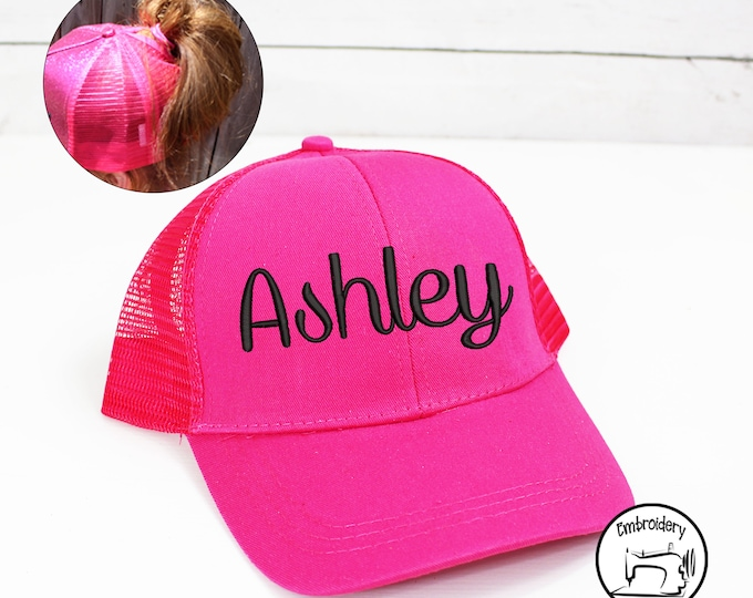 Custom Hot Pink Womens Ball Cap, Monogrammed, Embroidered ,High Ponytail, Trucker Hat, High Pony Cap, Baseball Hat Messy Bun Hat Ballcap