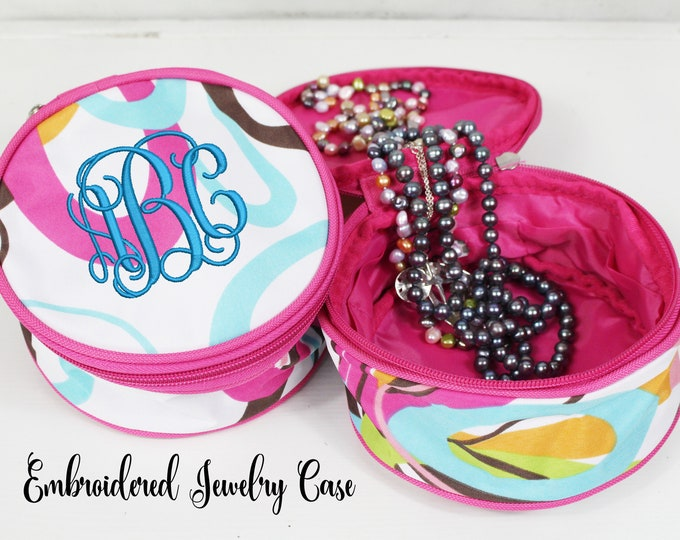 Monogrammed Travel Jewelry Case, Personalized Jewelry Pouch