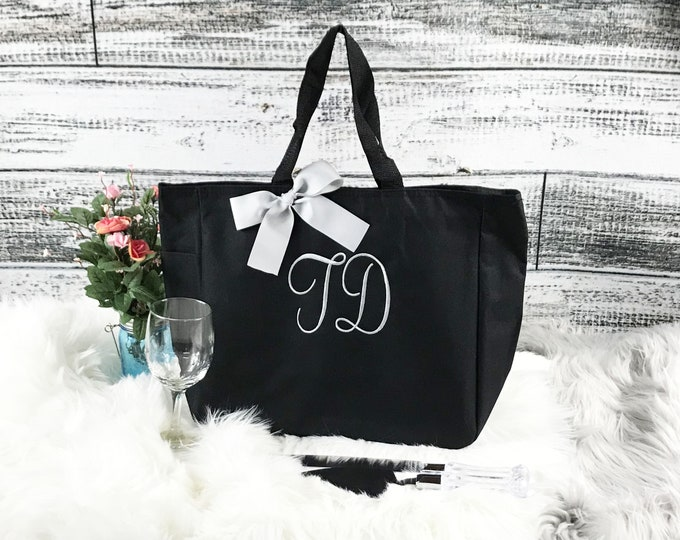9 Personalized Bridesmaid Tote Bags Monogrammed Tote, Bridesmaids Tote, Personalized Tote, Monogrammed Tote Bag, Bridesmaid Gift Bag (ESS1)