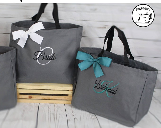 Personalized Bridesmaid Gift Tote Bag, Mother of the bride Gift Tote, Teacher Gift, - Wedding Party Gift- Bridal Party Gift (ESS1)