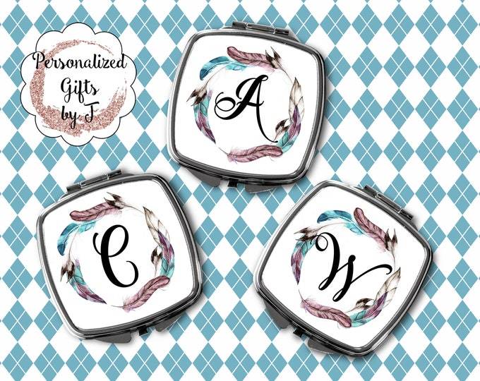 Compact Mirror Bridesmaids Gifts BOHO Feather Design Monogrammed Personalized Pocket Purse Mirror design 1114