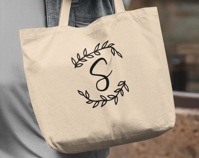 Personalized Canvas Tote Bag, Initial Tote, 3 Sizes To choose from