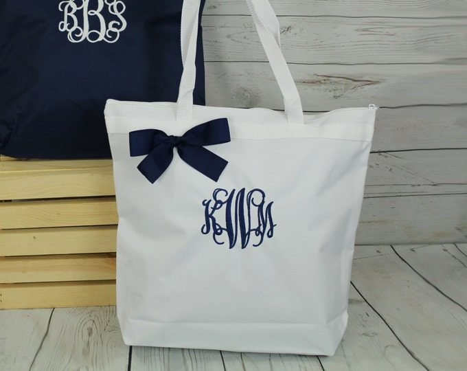 12 Personalized Zippered Tote Bag Bridesmaid Gift Monogrammed Tote, Bridesmaids Tote, Personalized Tote