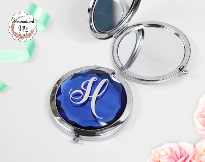 Blue Jeweled Compact Mirror