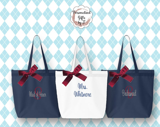 Personalized- Zippered Tote Bag Set of 3, Embroidered Beach Bag, Custom  Monogrammed Tote Bag, Personalize Bridal Party Tote