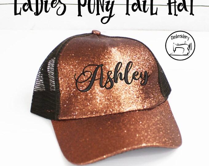 Ponytail Hat, Bronze Custom Glitter, Monogrammed, Embroidered ,High Ponytail, Trucker Hat, Pony Cap, Messy Bun Hat  Women Gift under 10