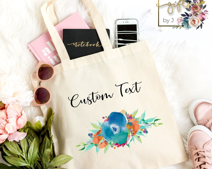 Blue Floral, Personalized Bridesmaids Gift Tote Bags, Custom Tote Bag