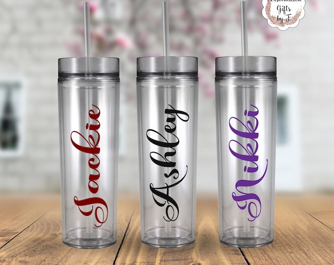 Personalized Tumblers Glass Set of Personalized Tumbler, Bridesmaid Gift, Bachelorette Party, Bridesmaid Glass Design 102