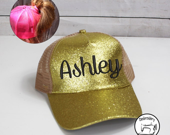 Custom Glitter Gold, Monogrammed, Embroidered ,High Ponytail, Trucker Hat, High Pony Cap, Baseball Hat Messy Bun Hat Ballcap Women Ball Cap