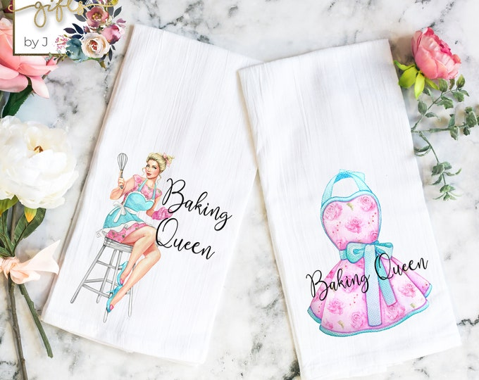 Flour Sack Towels, Set of 2, Baking Queen Blonde or Brunette, Hostess Gift, Housewarming Gift