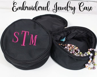 Personalized Jewelry Case, Black Jewelry Case, Flower Girl Gift, Teen Gift, Maid of Honor Gift, Tween Gift, Monogrammed Jewelry Case